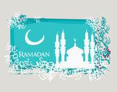 Ramadan background - mosque silhouette vector card — Stock Photo