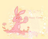 Illustration of happy Easter bunny carrying egg — Stock Photo