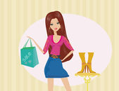 Fashion girl shopping in shoes shop — Stock Photo