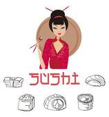 Beautiful Asian girl enjoy sushi — Stock Photo