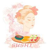 Schöne asiatische Mädchen und Sushi - Poster — Stockfoto