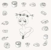 Sushi doodle set — Stock Photo