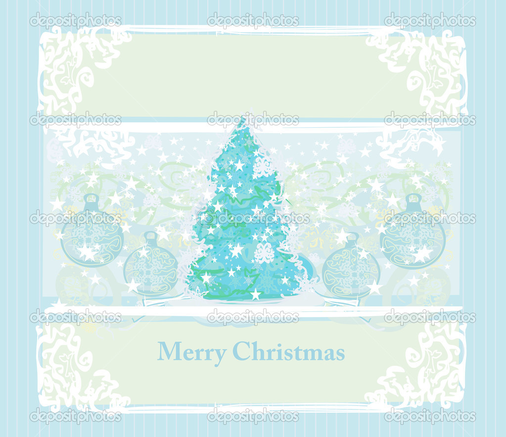 Blue christmas tree card  — Stock Photo #9272882