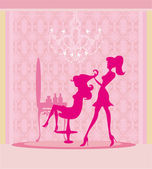 Vector illustration of the beautiful woman in hairdressing salon — Stock Photo