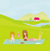 A vector illustration of a family having a picnic in a park — Stock Photo
