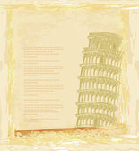Vector pisa tower grunge background — Stock Photo