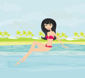 Vector image of girl and tropical pool — Stock Photo