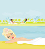 Pretty girl enjoying elegant spa — Foto de Stock