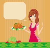 Schöne dame kochen huhn — Stockfoto