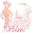 Beautiful women Shopping in Paris - vector card - Stock Photo