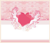 Happy valentine's day card with cupid — Stock Photo
