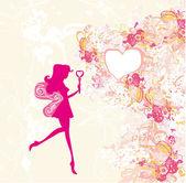 Fondo floral con una hermosa hada — Foto de Stock