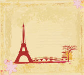 Vintage retro Eiffel card — Stock Photo
