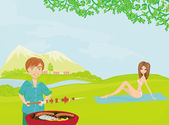 Barbecue Party - cook and girl — Stock Photo