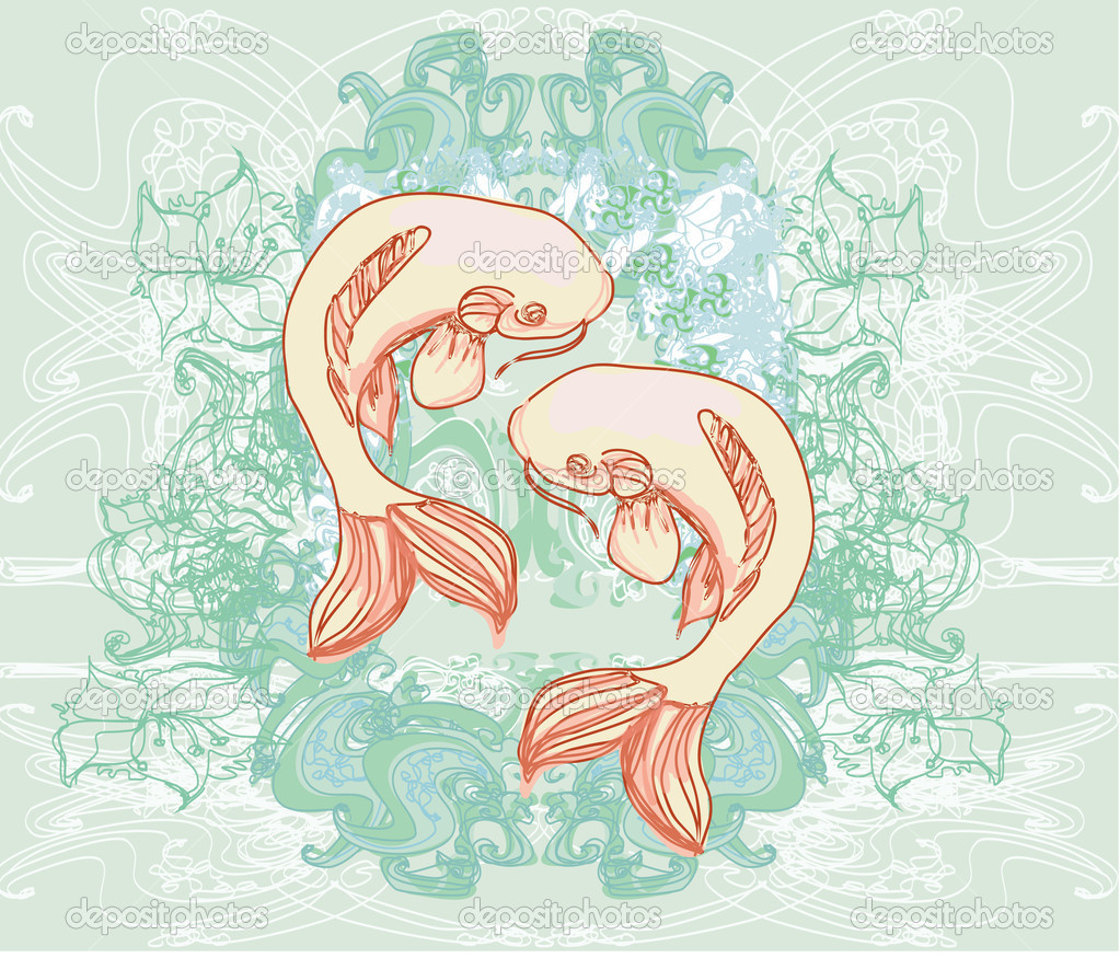 Japanese koi vector background  — Stock Photo #9370875
