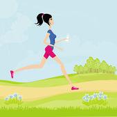 Jogging dziewczyna latem — Zdjęcie stockowe