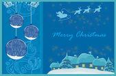 счастливый новогодняя открытка с санта- и зимний пейзаж — Стоковое фото