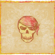 Skull Pirate - retro card — Stock Photo