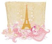 Vintage retro Eiffel card — Stock Photo