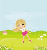 Söt flicka spela — Stockfoto