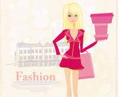 时尚购物女孩与购物袋和礼品盒 — 图库照片