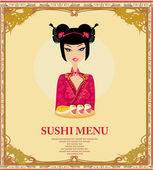 Beautiful Asian girl enjoy sushi - menu template — Foto de Stock