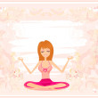 Yoga girl in lotus position - Stock Photo
