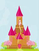 Ilustración de la princesa en la torre esperando príncipe — Foto de Stock