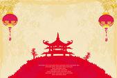 Altpapier mit asiatischen landschaft und chinesischen laternen — Stockfoto
