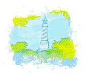 从一个小小的海滩-grunge 海报看灯塔 — 图库照片