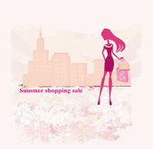 Fashion silhouettes girl Shopping in the city — Stock Photo