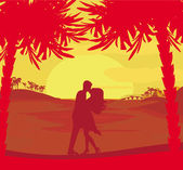 Silhouette couple kissing on tropical beach — Photo