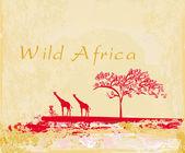 Grunge achtergrond met afrikaanse fauna en flora — Stockfoto