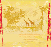 Grunge background with African fauna and flora — Zdjęcie stockowe