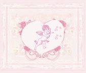 Happy Valentijnsdag kaart met cupid — Stockfoto