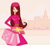 Vêtements fille commerçante avec des sacs à provisions et coffret cadeau — Photo