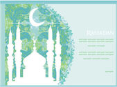 Ramadan background - mosque silhouette vector card — Foto Stock