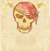 Skull Pirate - retro card — Stock Photo