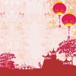Old paper with Asian Landscape and Chinese Lanterns - vintage japanese style background — Stock Photo #9515231