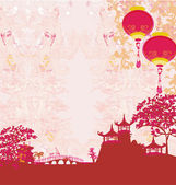 Old paper with Asian Landscape and Chinese Lanterns - vintage japanese style background — Stock Photo