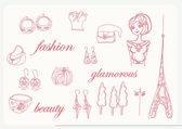 Fashion paris doodles ensemble — Photo