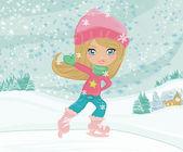Girl on skates — Stock Photo