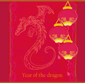 Vector card of year of the dragon and lanterns — Stok fotoğraf