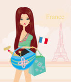 Beautiful women Shopping in Paris — Stock Photo