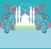 Fondo de ramadán - tarjeta de vector de silueta mezquita — Foto de Stock