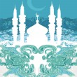 Ramadan background - mosque silhouette vector card — Stock Photo