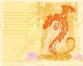 Card of year of the dragon — Stock Photo
