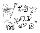 Set with halloween doodles — Stock Photo