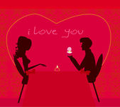 Man proposing with an engagement ring to his love in a restaurant - vector — Stock Photo