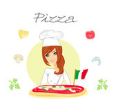 Beautiful woman serving pizza — Stock Photo